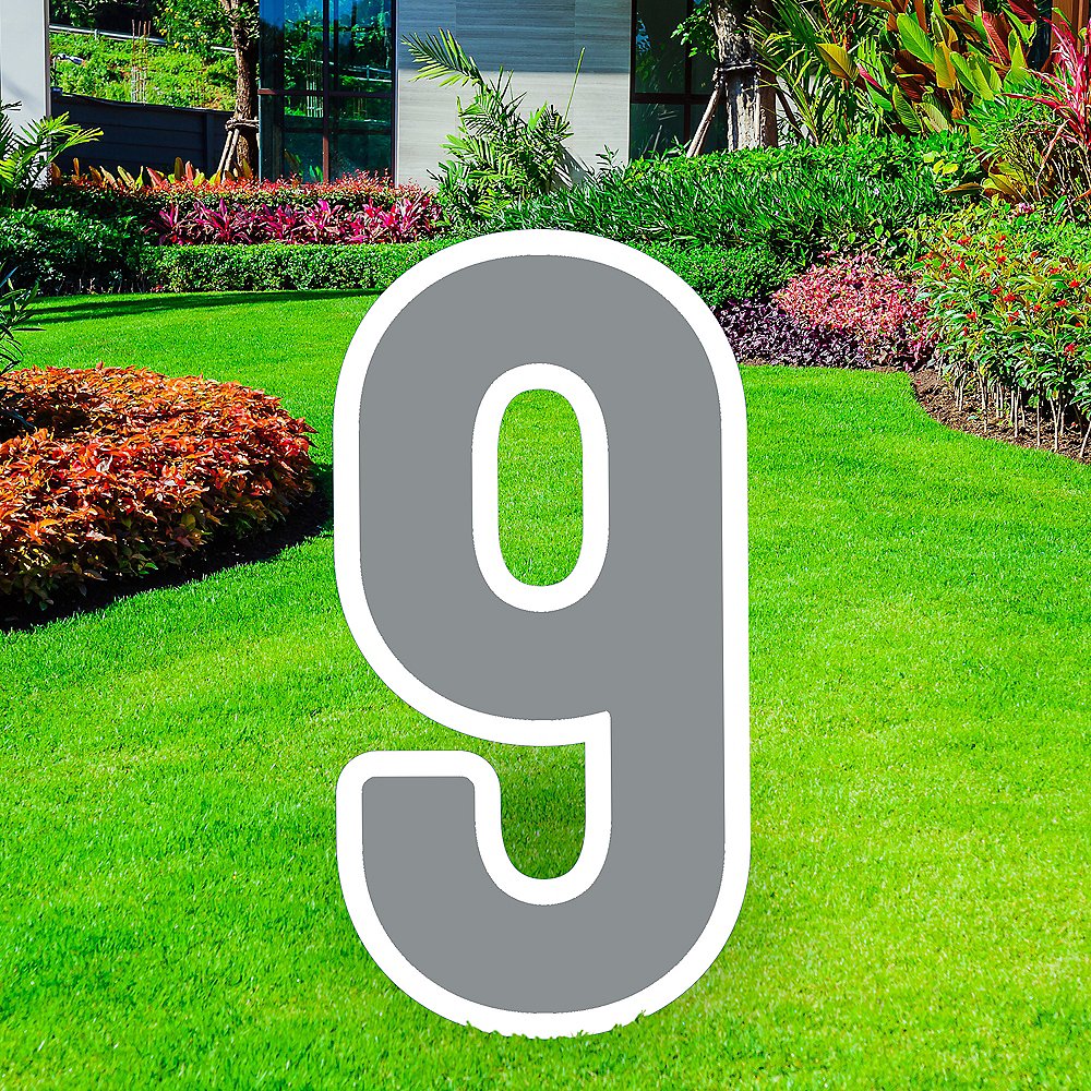 Giant Silver Corrugated Plastic Number (9) Yard Sign, 30in Image #1