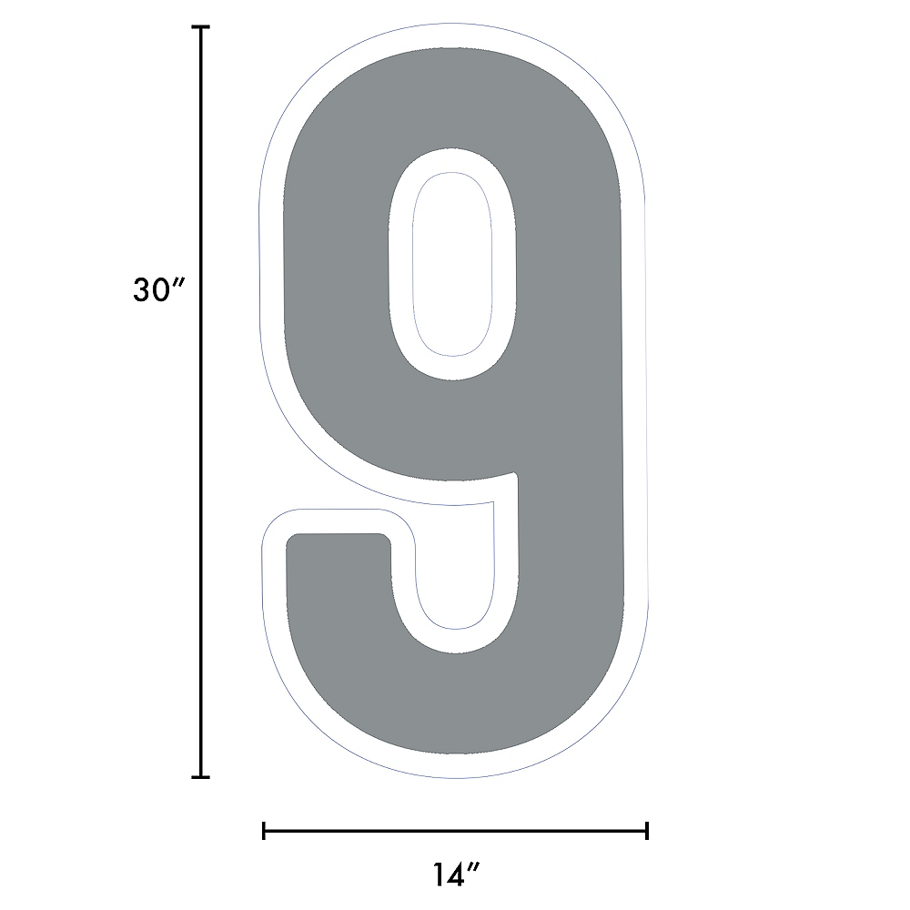 Giant Silver Corrugated Plastic Number (9) Yard Sign, 30in Image #2
