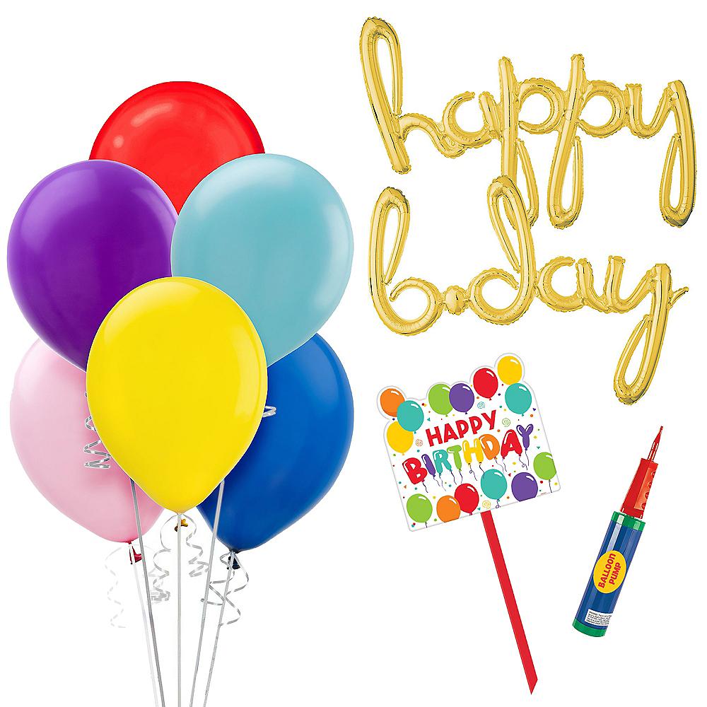 Multicolor Front Yard Birthday Balloon Display Kit Image #1