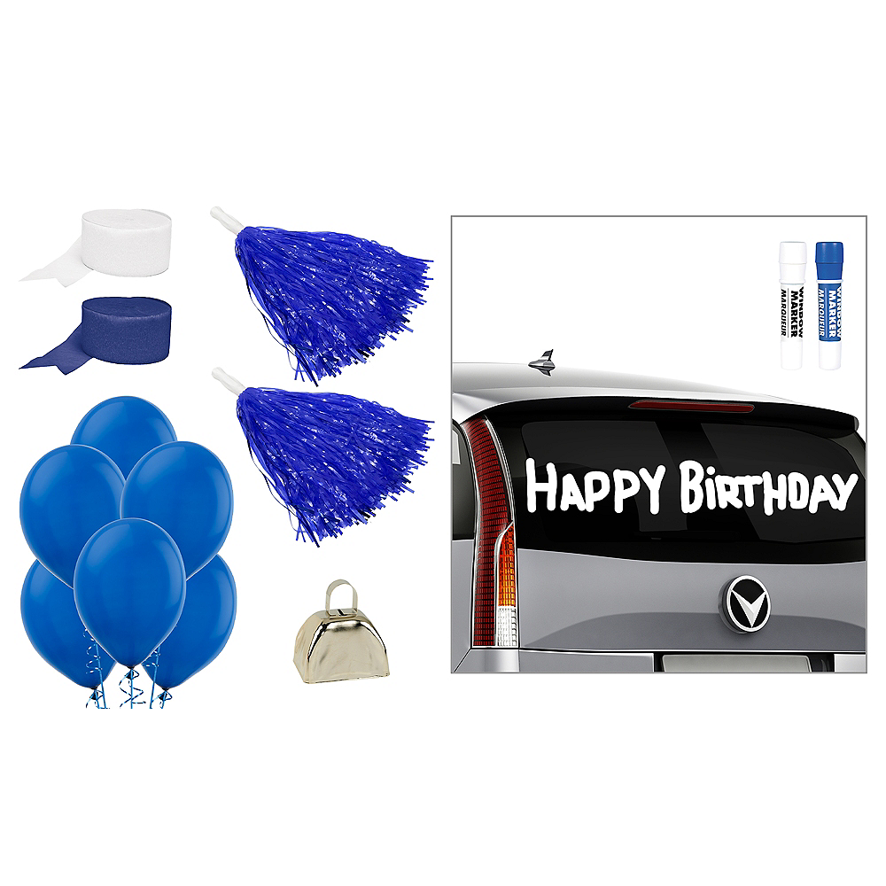 Blue & White Car Decorating Kit Image #1