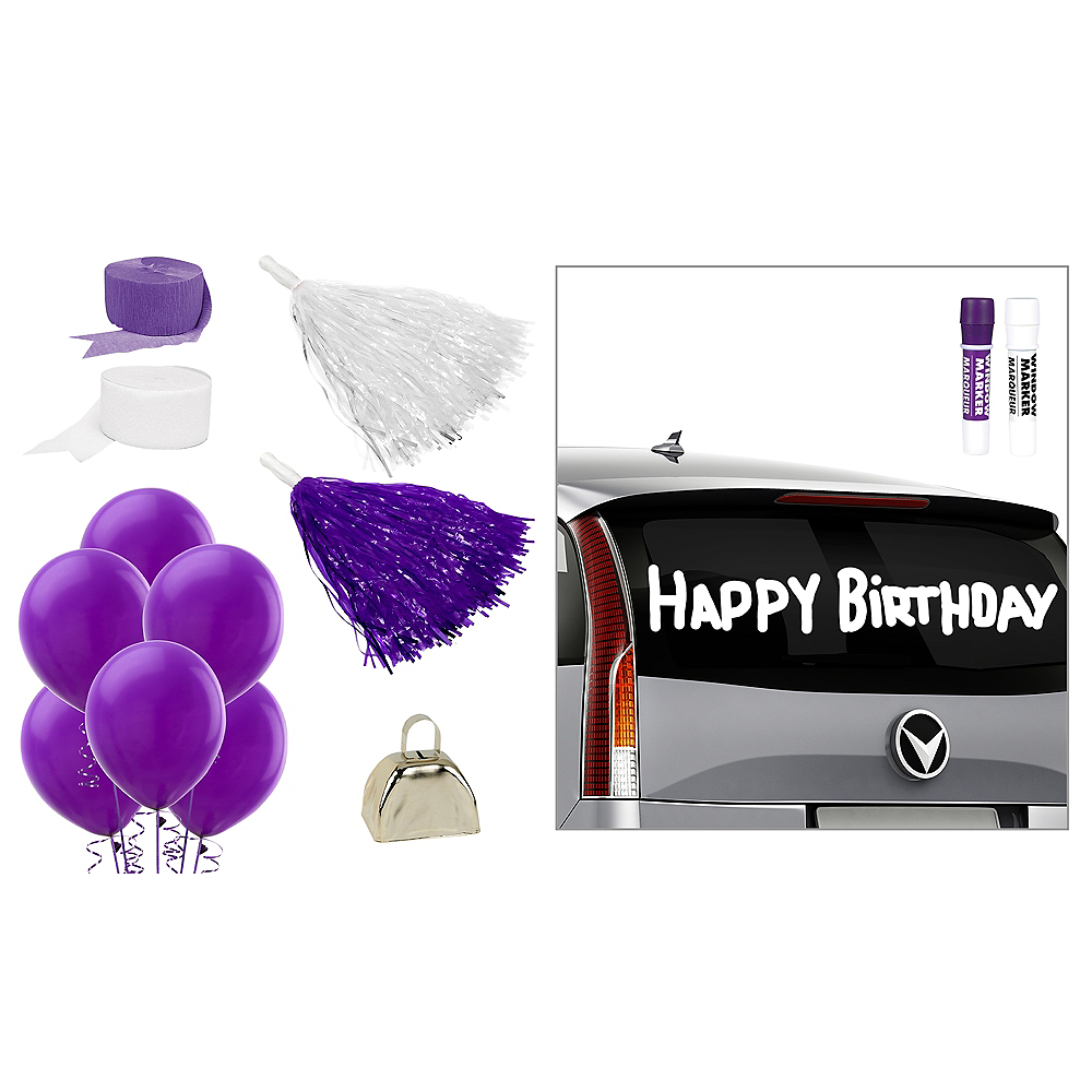 Purple & White Car Decorating Kit Image #1