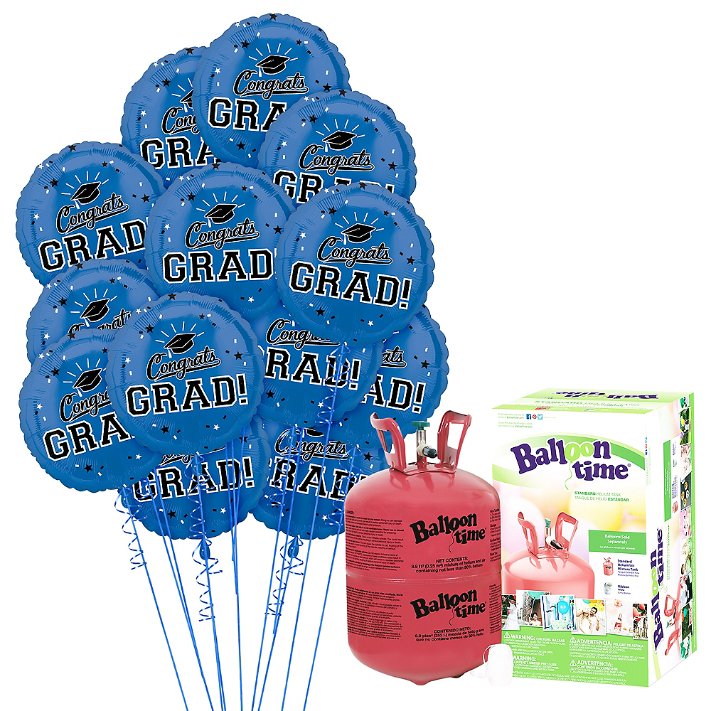 Blue Congrats Grad Balloon Bouquet, 18in, 12pc with Helium Tank Image #1