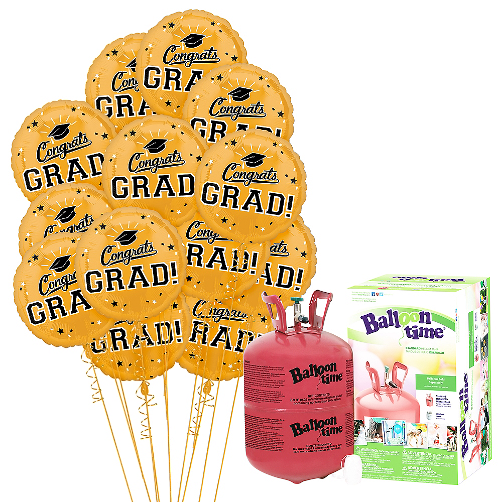 Gold Congrats Grad Balloon Bouquet, 18in, 12pc with Helium Tank Image #1