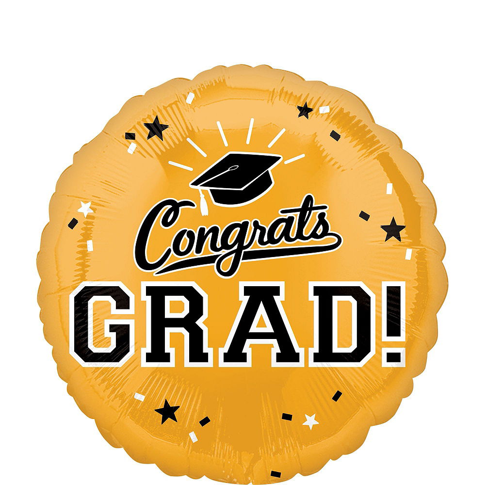 Gold Congrats Grad Balloon Bouquet, 18in, 12pc with Helium Tank Image #4