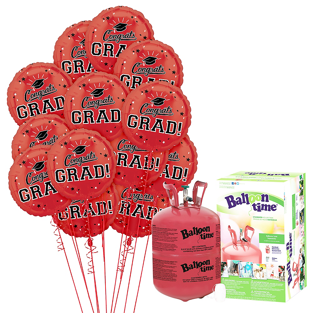 Red Congrats Grad Balloon Bouquet, 18in, 12pc with Helium Tank Image #1