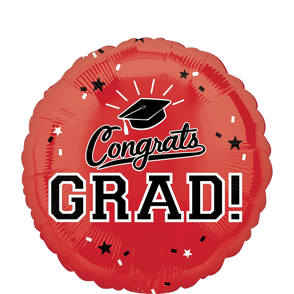 Red Congrats Grad Balloon Bouquet, 18in, 12pc with Helium Tank Image #3