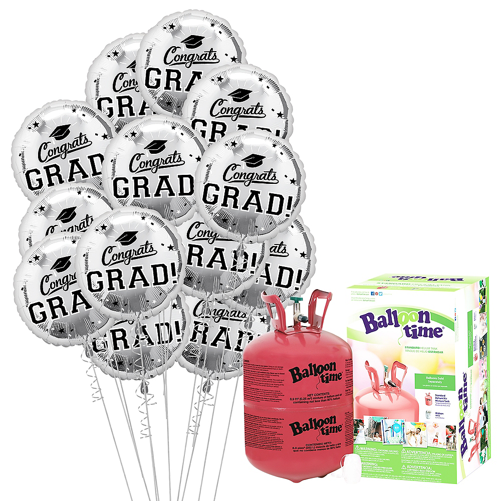Silver Congrats Grad Balloon Bouquet, 18in, 12pc with Helium Tank Image #1