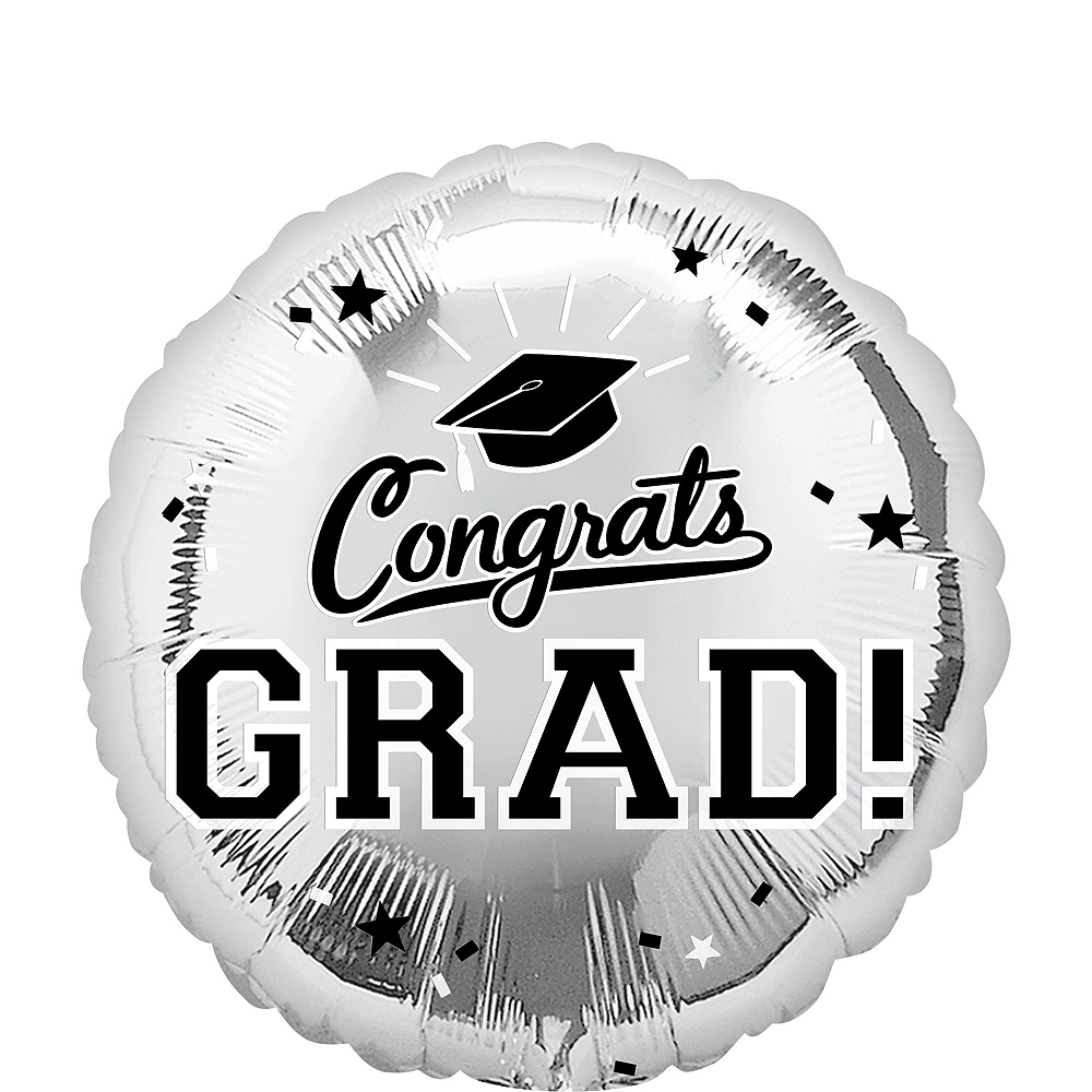 Silver Congrats Grad Balloon Bouquet, 18in, 12pc with Helium Tank Image #4