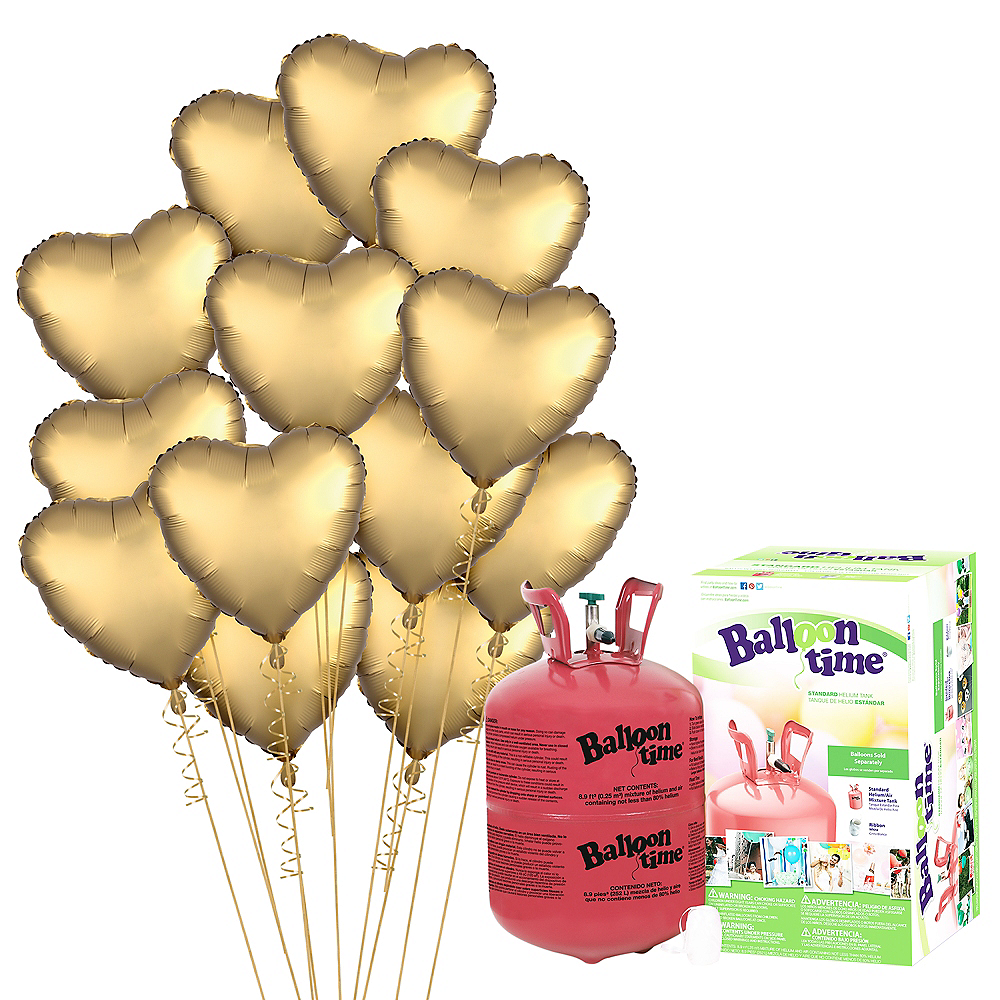 Abundant Love Gold Satin Heart Balloon Bouquet, 17in, 12pc with Helium Tank Image #1