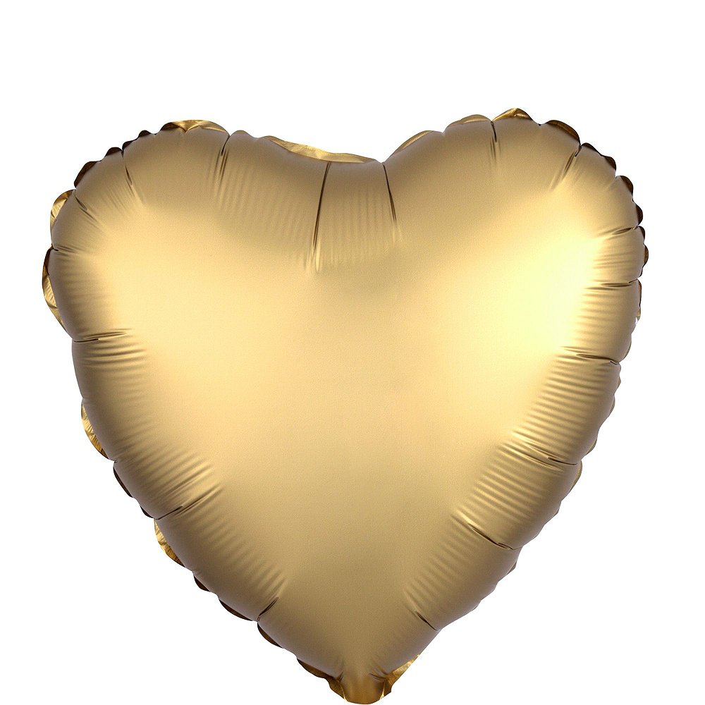 Abundant Love Gold Satin Heart Balloon Bouquet, 17in, 12pc with Helium Tank Image #3