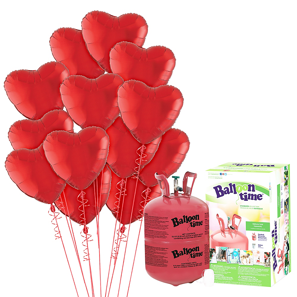 Abundant Love Red Heart Balloon Bouquet, 17in, 12pc with Helium Tank Image #1