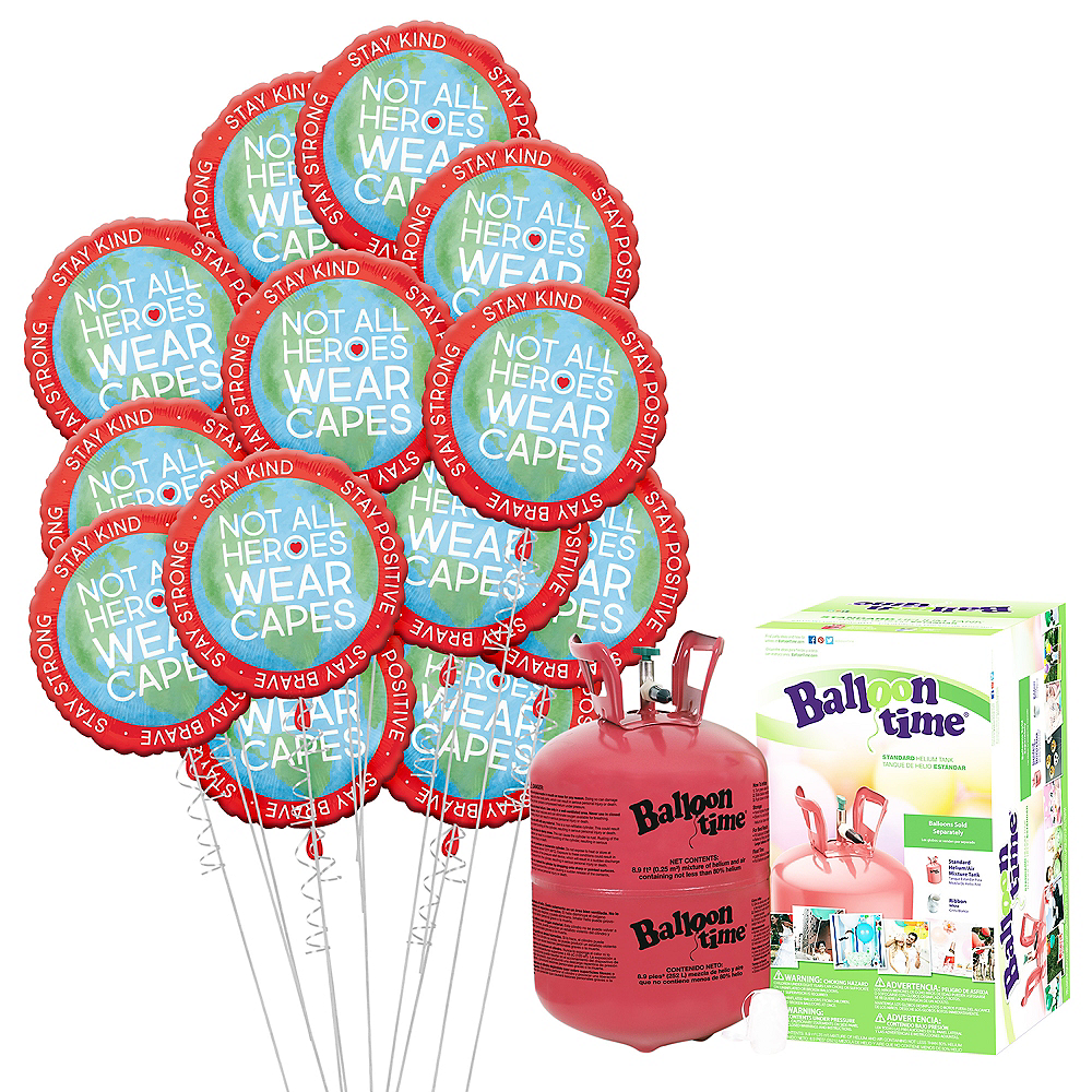 Everyday Heroes Stay Strong Balloon Bouquet, 18in, 12pc with Helium Tank Image #1