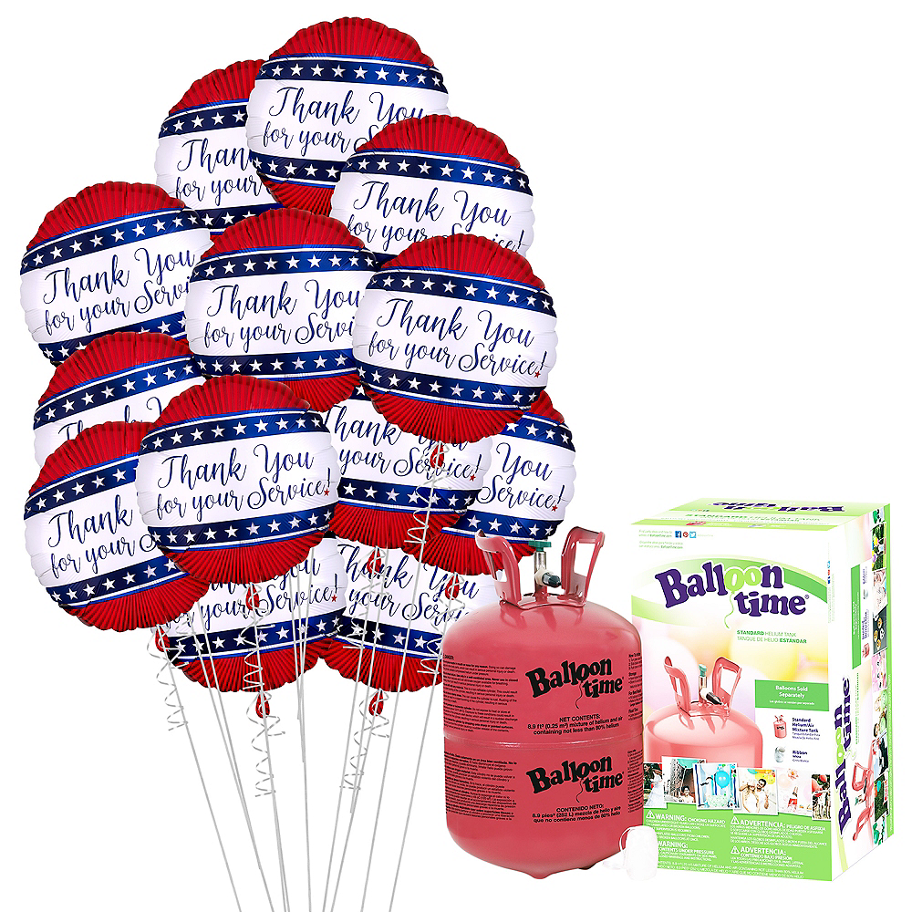 Everyday Heroes Thank You for Your Service Balloon Bouquet, 18in, 12pc with Helium Tank Image #1