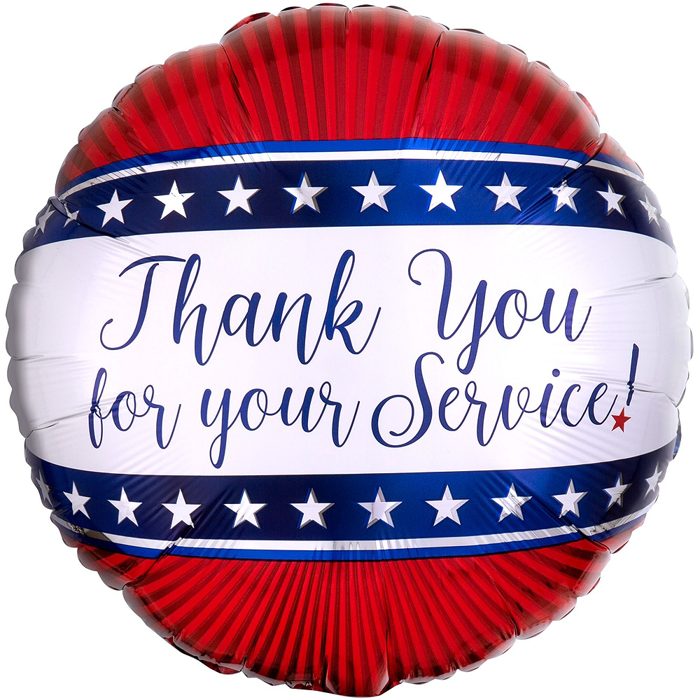 Everyday Heroes Thank You for Your Service Balloon Bouquet, 18in, 12pc with Helium Tank Image #3