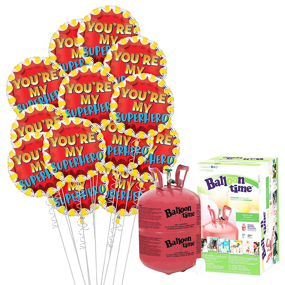 Everyday Superheroes Balloon Bouquet, 18in, 12pc with Helium Tank Image #1