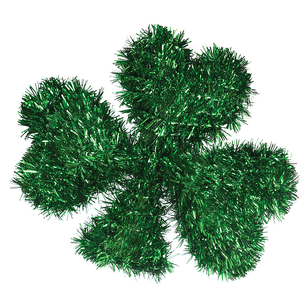 3D Mini Green St. Patrick's Day Tinsel Shamrock Image #1