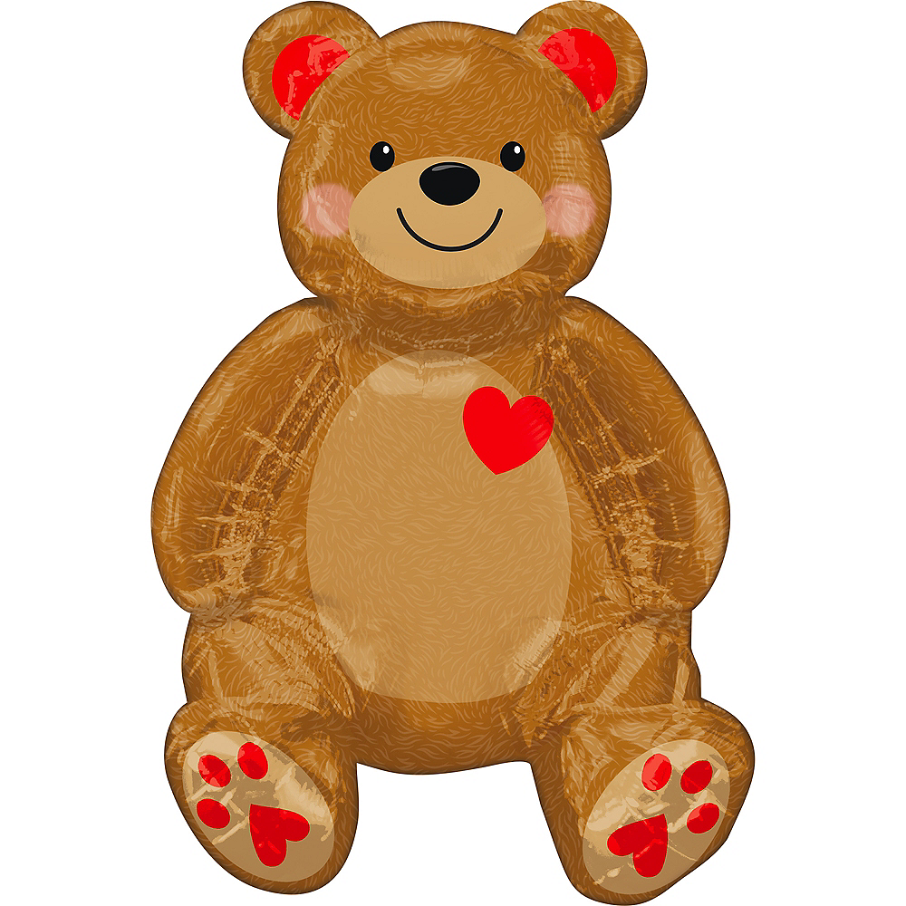 Air-Filled Sitting Teddy Bear Foil Balloon, 17in x 20in Image #1