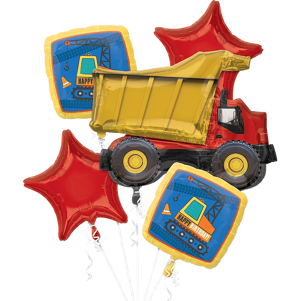 Dump Truck Birthday Balloon Bouquet, 5pc Image #1