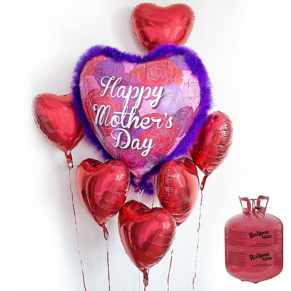 Red Mother's Day Heart Balloon Bouquet, 7pc, with Helium Tank Image #1