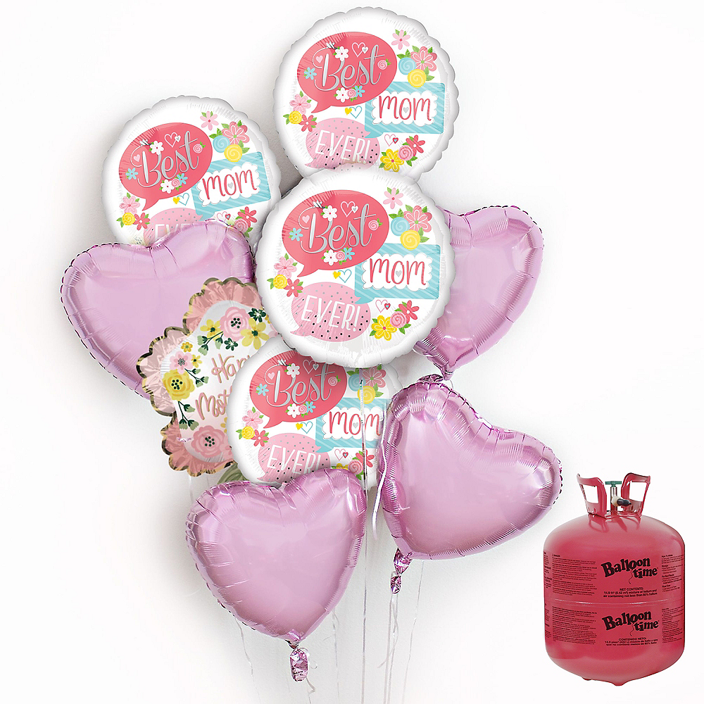 Floral Satin Mother's Day Balloon Bouquet, 8pc, with Helium Tank Image #1