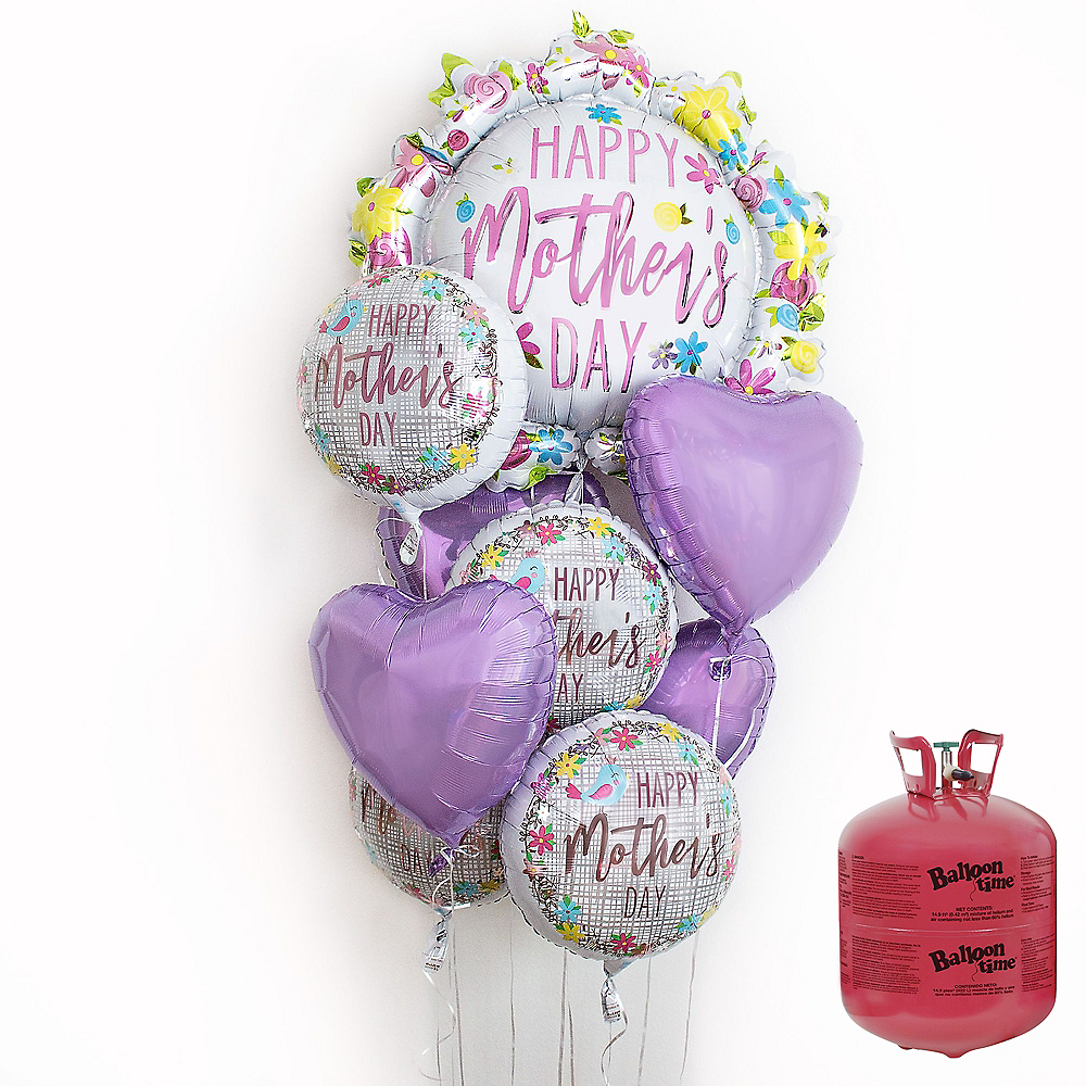 Birds & Flowers Mother's Day Balloon Bouquet, 9pc, with Helium Tank Image #1