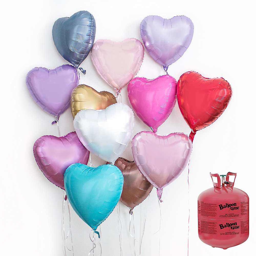 Assorted Color Heart Balloon Bouquet, 12pc, with Helium Tank Image #1