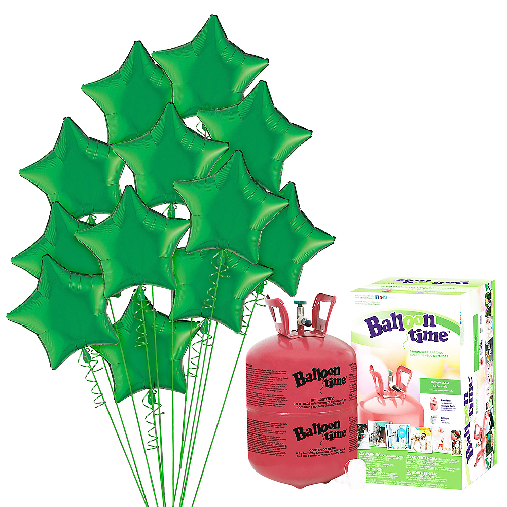 Green Star Balloon Bouquet, 19in, 12pc, with Helium Tank Image #1