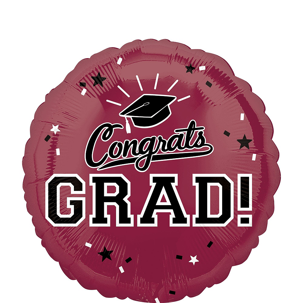 Berry Congrats Grad Balloon Bouquet, 18in, 12pc with Helium Tank Image #3