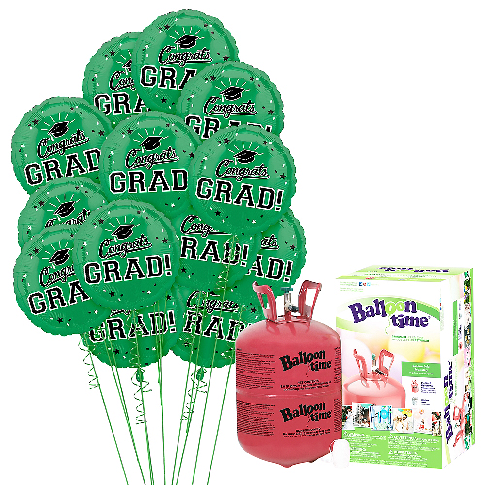 Green Congrats Grad Balloon Bouquet, 18in, 12pc with Helium Tank Image #1