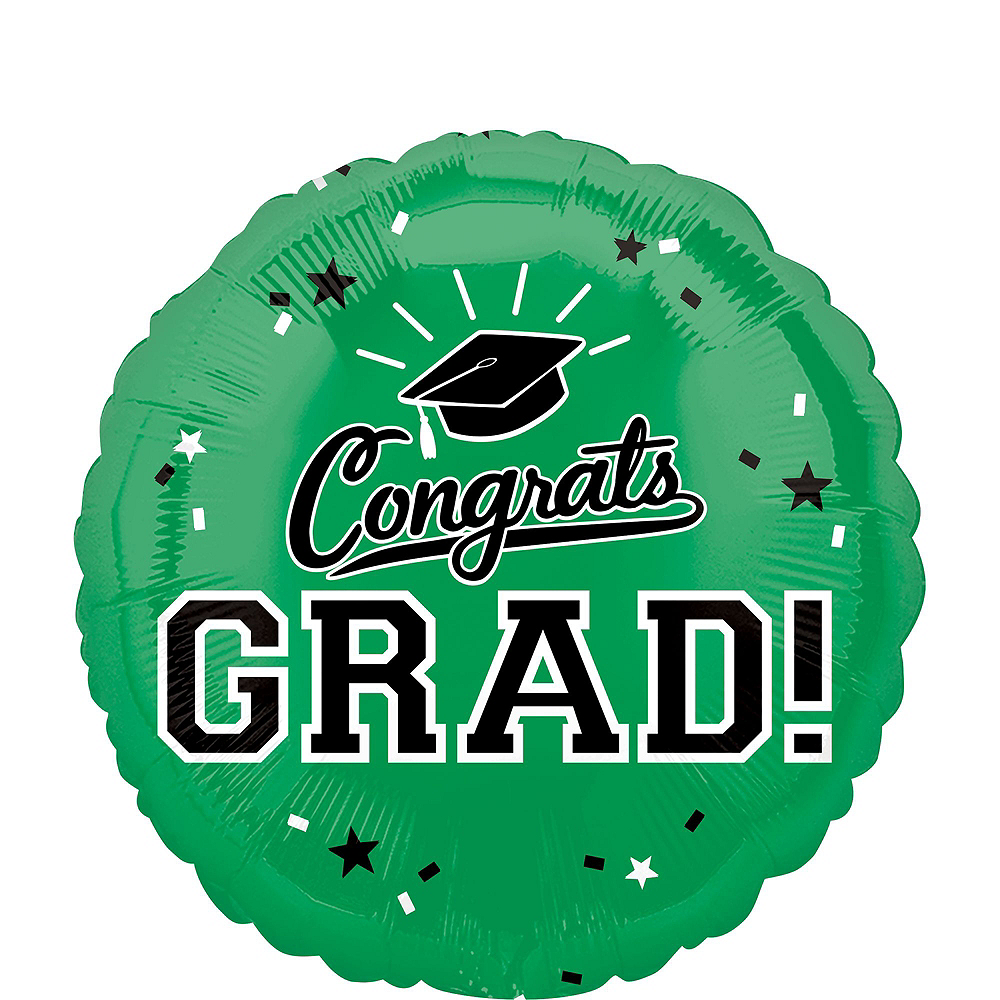 Green Congrats Grad Balloon Bouquet, 18in, 12pc with Helium Tank Image #3