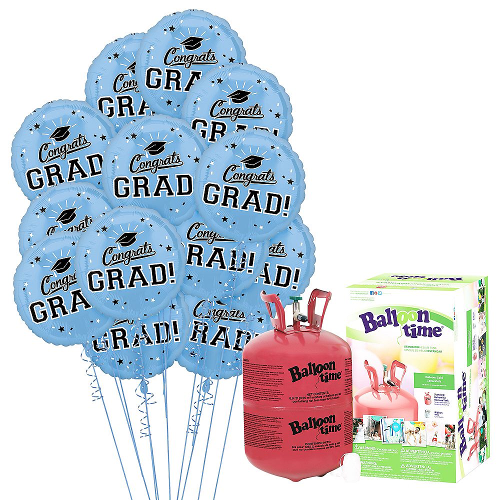 Pastel Blue Congrats Grad Balloon Bouquet, 18in, 12pc with Helium Tank Image #1