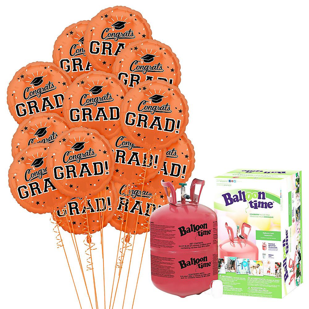 Nav Item for Orange Congrats Grad Balloon Bouquet, 18in, 12pc with Helium Tank Image #1