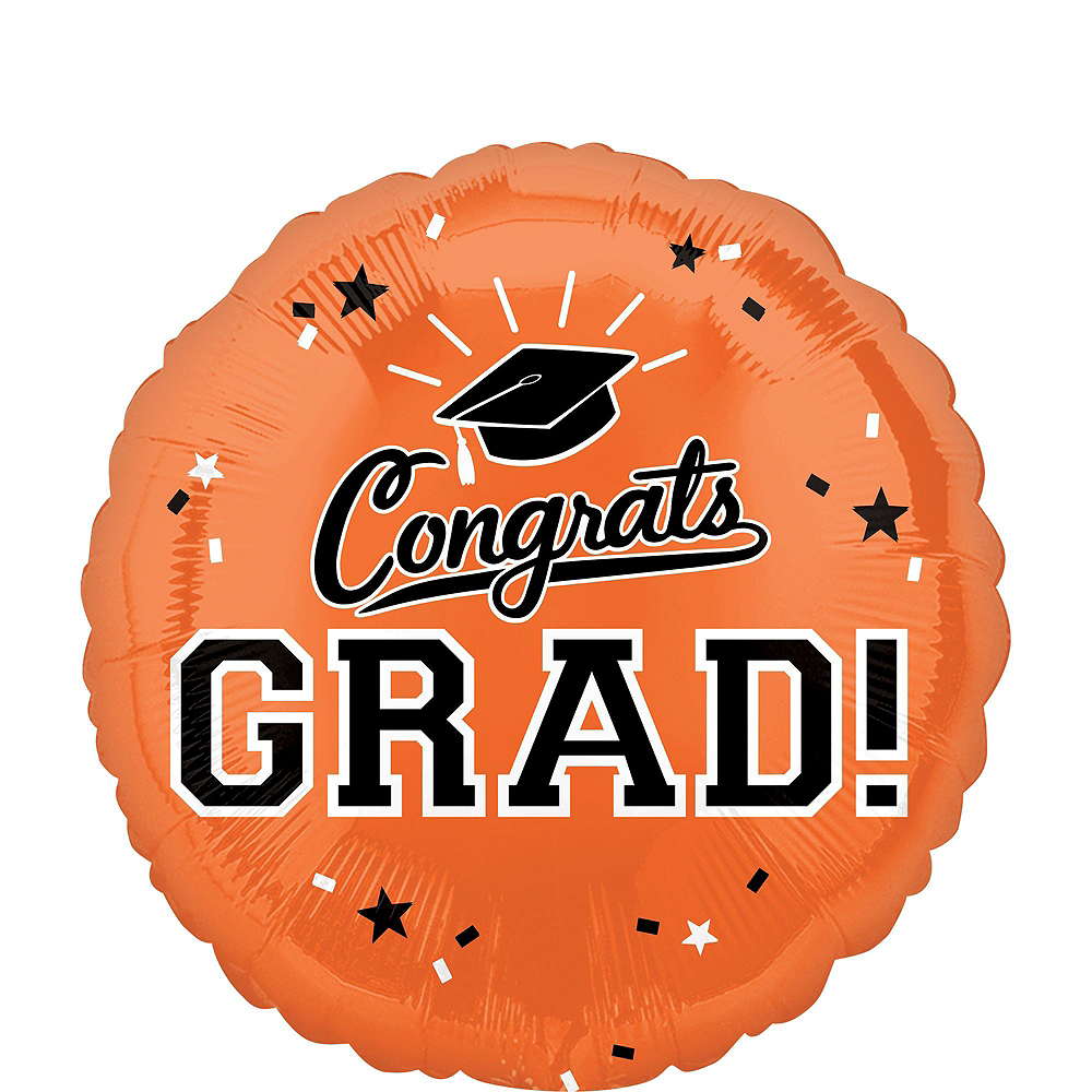Nav Item for Orange Congrats Grad Balloon Bouquet, 18in, 12pc with Helium Tank Image #3
