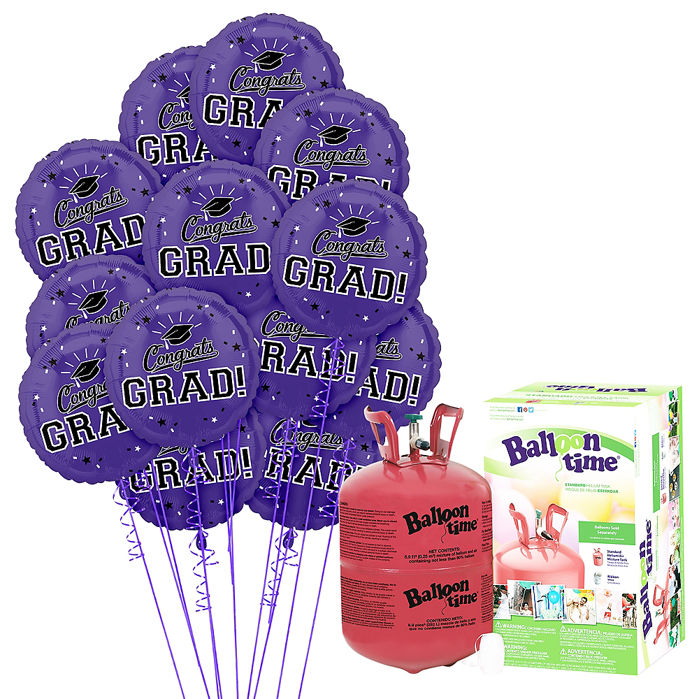 Purple Congrats Grad Balloon Bouquet, 18in, 12pc with Helium Tank Image #1