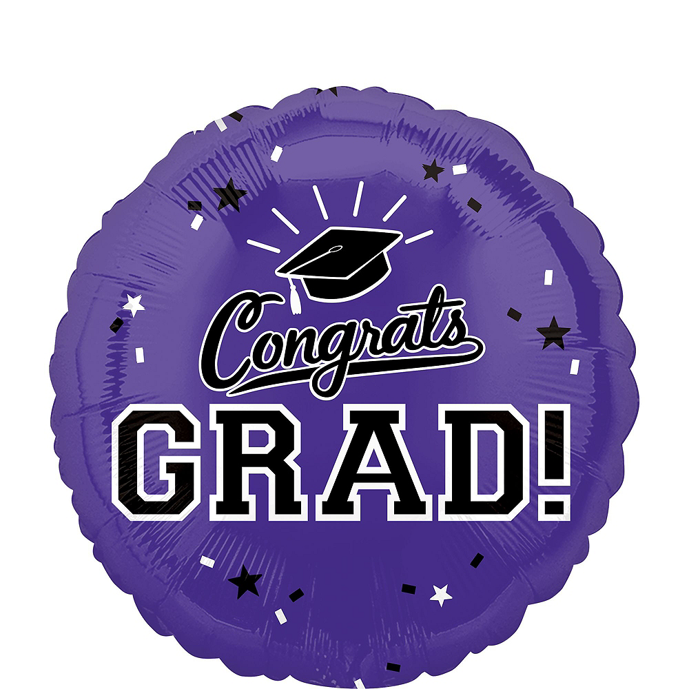Purple Congrats Grad Balloon Bouquet, 18in, 12pc with Helium Tank Image #3