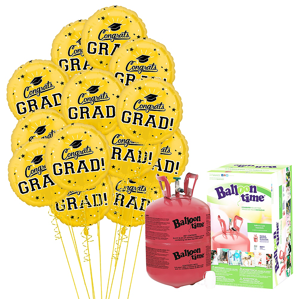Yellow Congrats Grad Balloon Bouquet, 18in, 12pc with Helium Tank Image #1