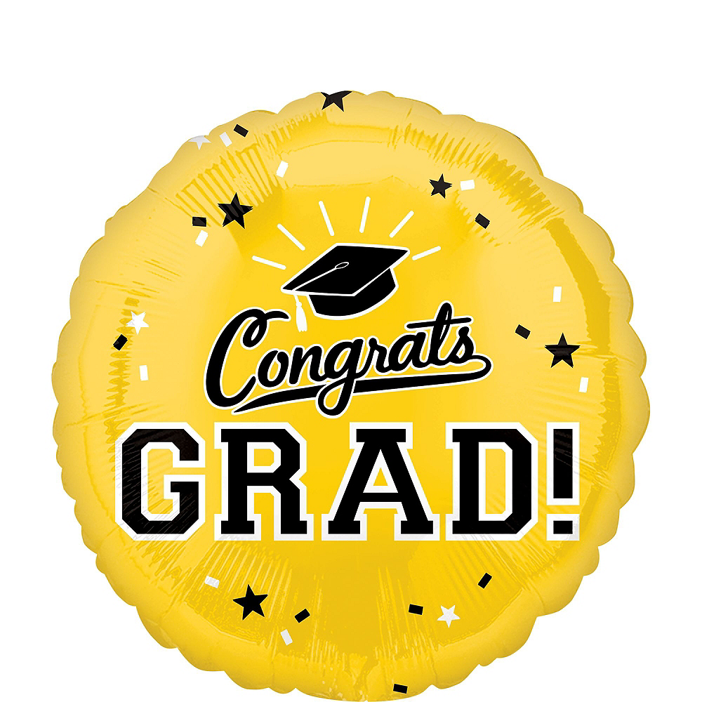 Yellow Congrats Grad Balloon Bouquet, 18in, 12pc with Helium Tank Image #3