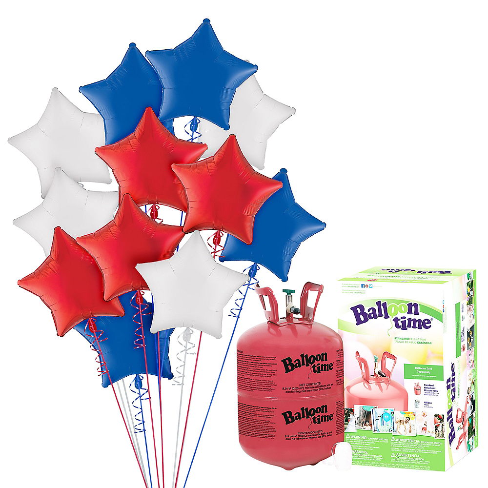 Red, White & Blue Star Balloon Bouquet, 19in, 12pc, with Helium Tank Image #1