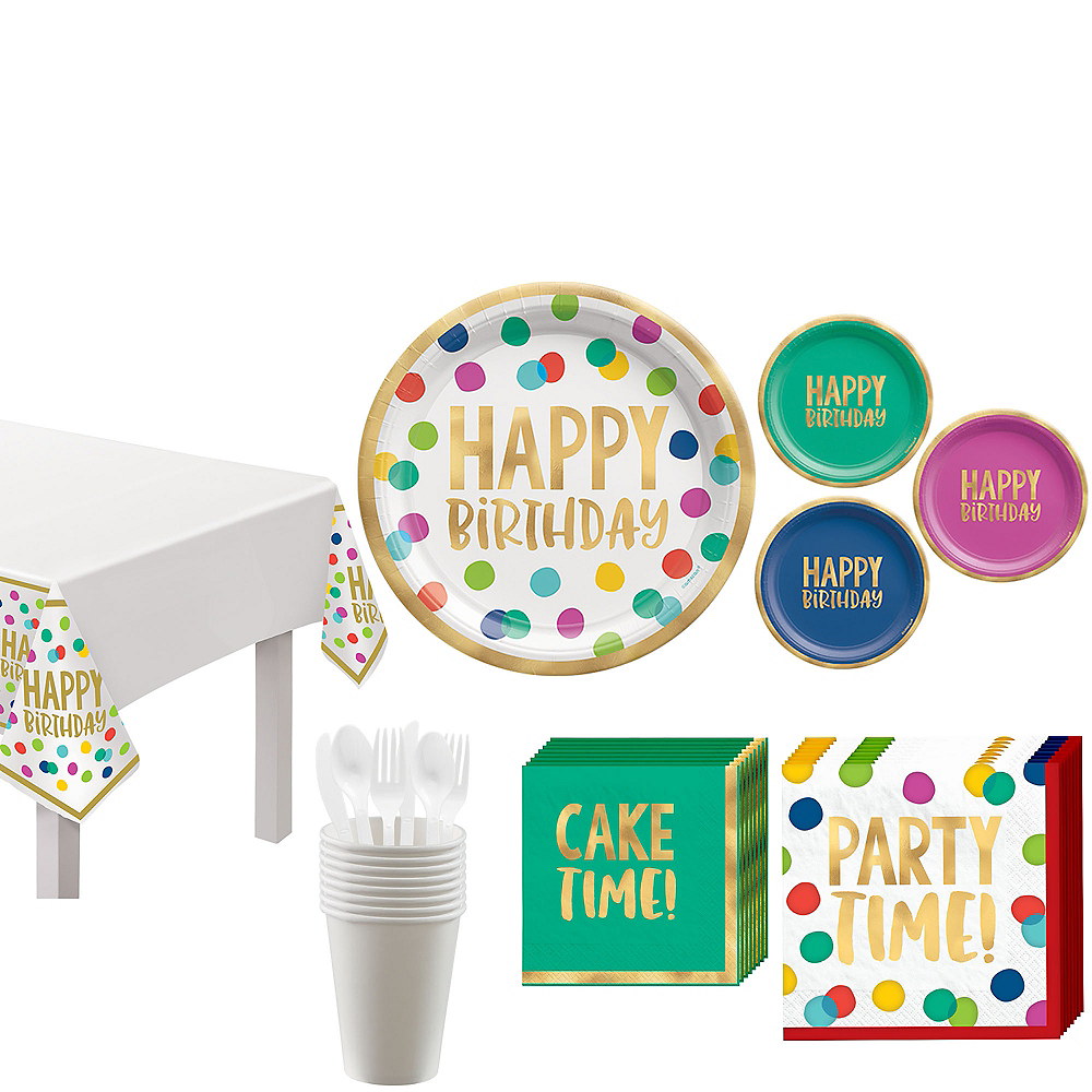 Multicolor & Metallic Gold Happy Dot Birthday Tableware Kit for 8 Guests Image #1