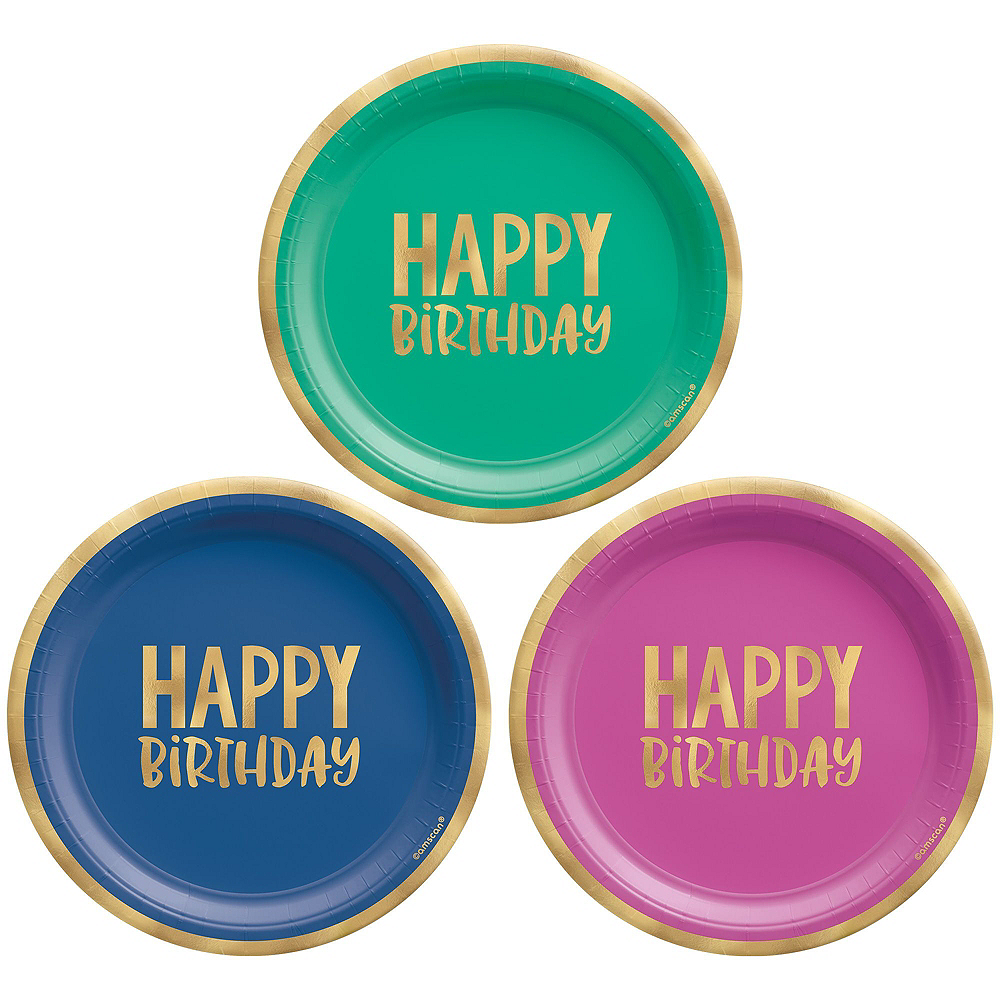 Multicolor & Metallic Gold Happy Dot Birthday Tableware Kit for 8 Guests Image #2