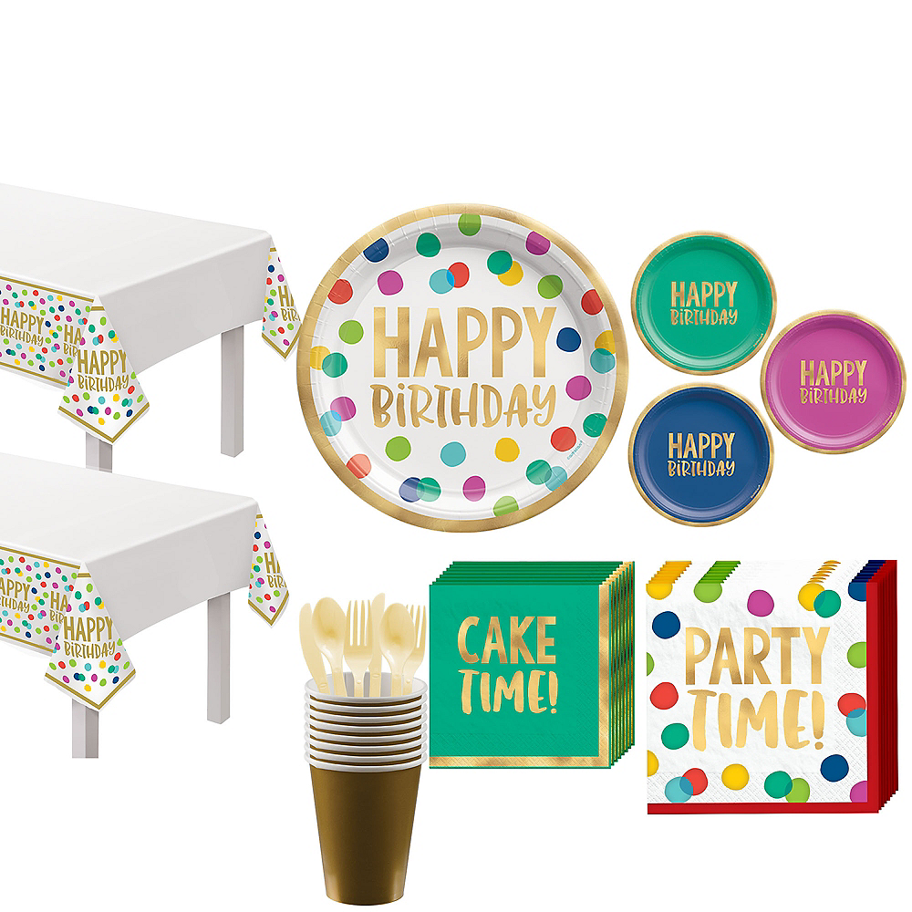 Multicolor & Metallic Gold Happy Dot Birthday Tableware Kit for 16 Guests Image #1