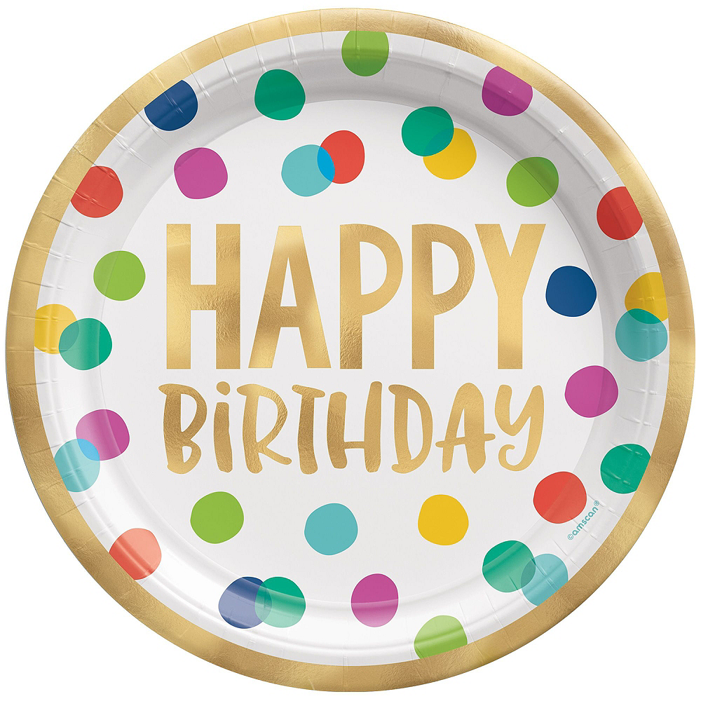 Multicolor & Metallic Gold Happy Dot Birthday Tableware Kit for 16 Guests Image #3