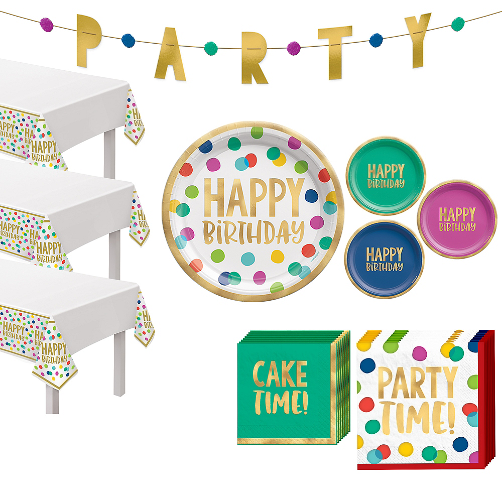 Multicolor & Metallic Gold Happy Dot Birthday Tableware Kit for 32 Guests Image #1