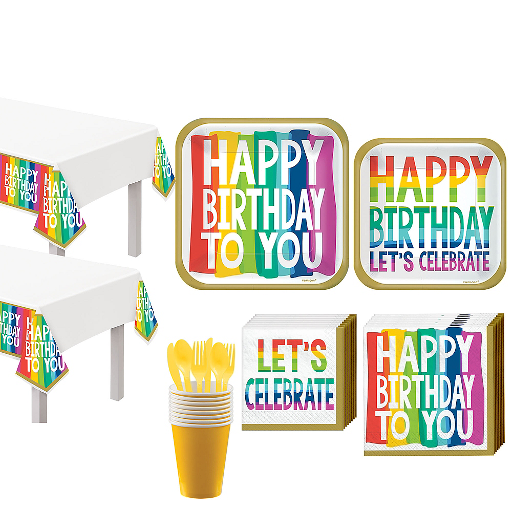 Rainbow Wishes Birthday Tableware Kit for 18 Guests Image #1