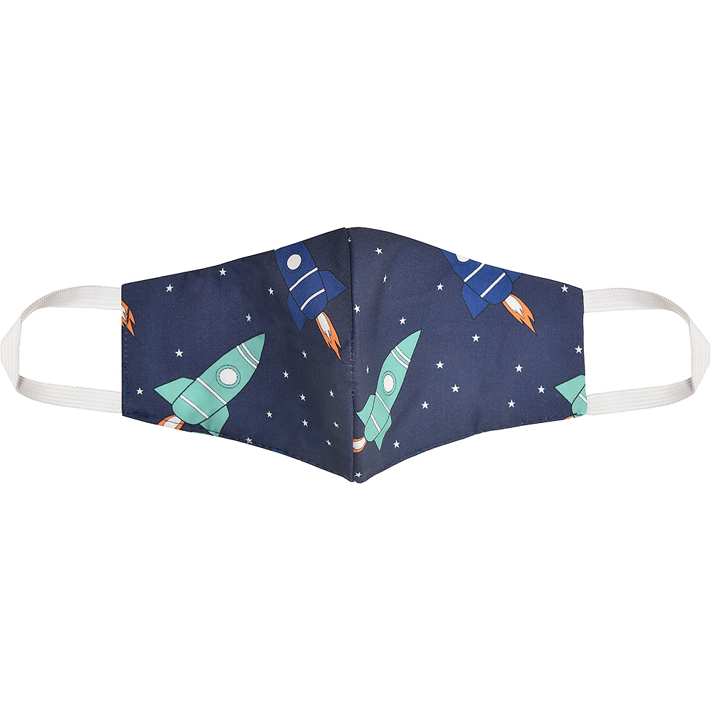 Child Outer Space Rockets Face Mask Image #1