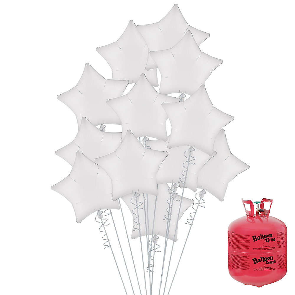 White Star Balloon Bouquet, 19in, 12pc, with Helium Tank Image #1