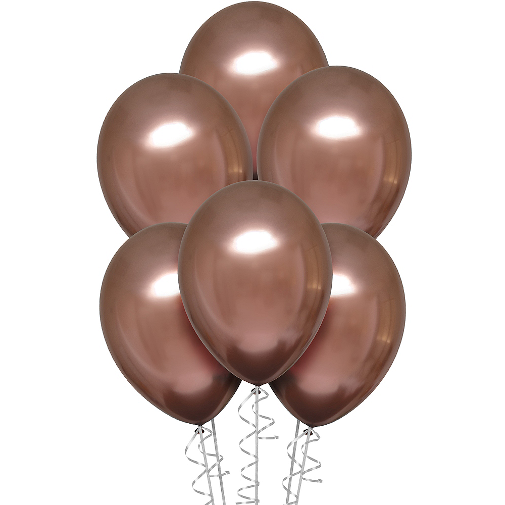 Rose Copper Metallic Chrome Satin Luxe Latex Balloons, 11in, 6ct Image #1