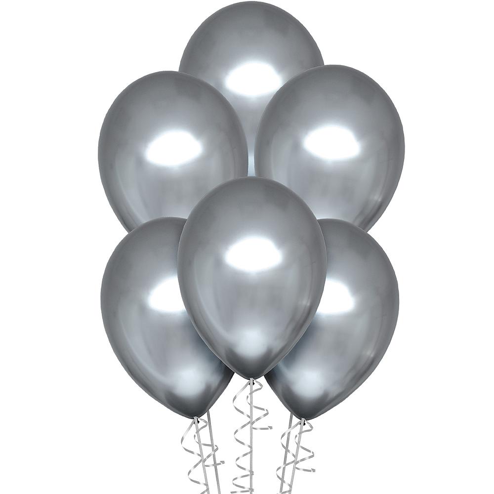 Platinum Metallic Chrome Satin Luxe Latex Balloons, 11in, 6ct Image #1