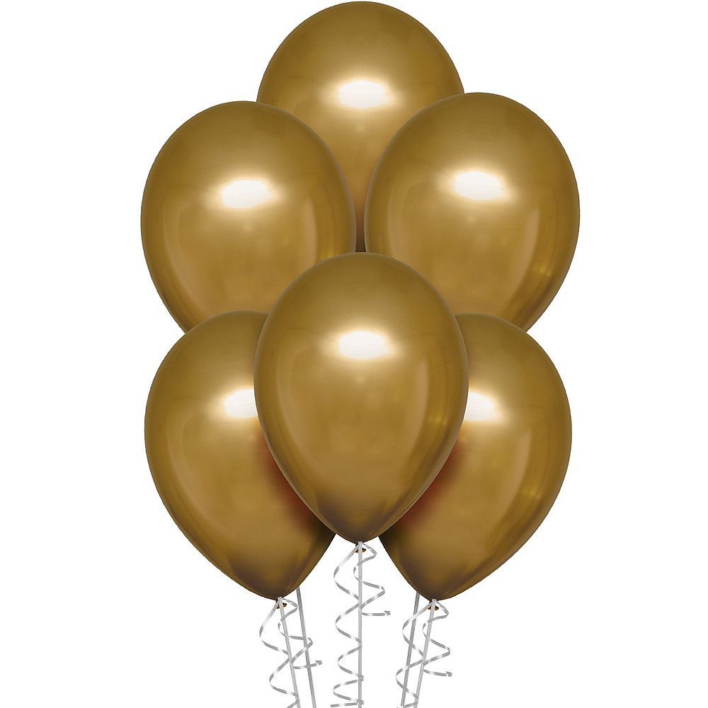 Gold Metallic Chrome Satin Luxe Latex Balloons, 11in, 6ct Image #1