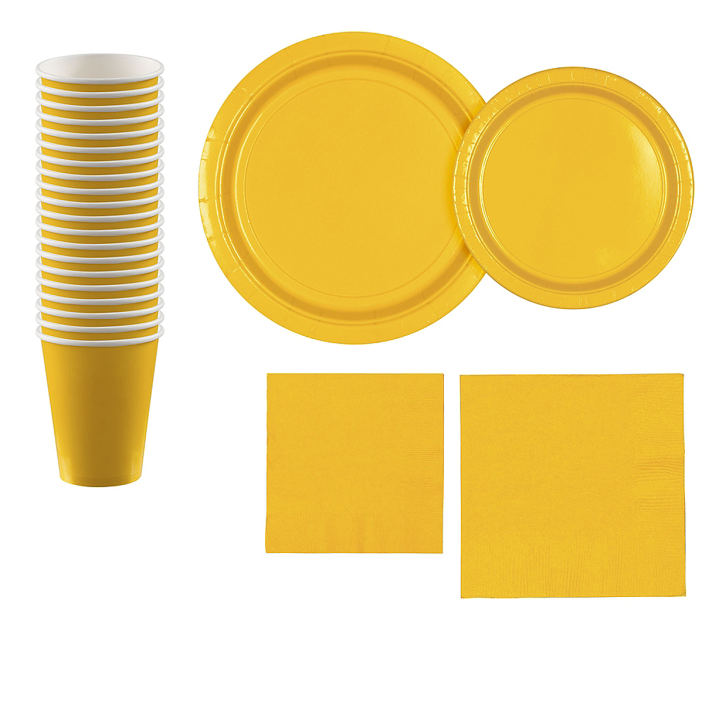 Sunshine Yellow Paper Tableware Kit for 20 Guests Image #1